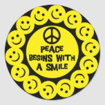 PEACE BEGINS WITH A SMILE CLASSIC ROUND STICKER