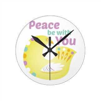 Peace Bird Round Clock