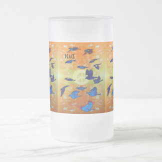 Peace Birds Frosted Glass Beer Mug