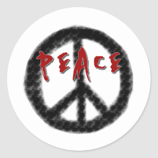 Peace Black and Red Classic Round Sticker