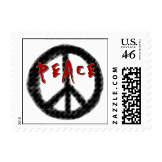 Peace Black and Red T-shirts and Gifts Stamps