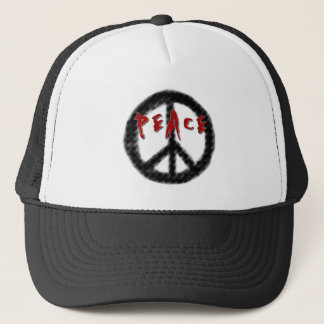 Peace Black and Red Trucker Hat