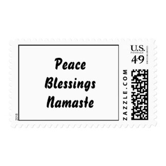 Peace, Blessings, Namaste. Black White Stamp