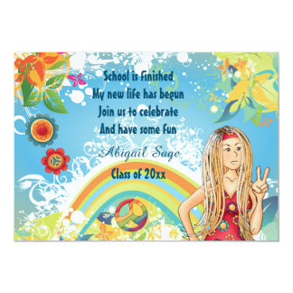 Peace Blond Hippie Girl Graduation Invitation