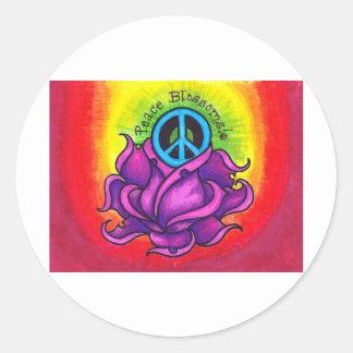 Peace Blossom Classic Round Sticker