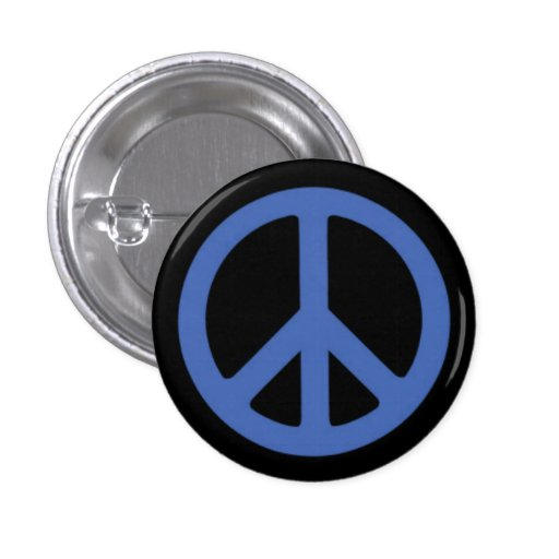 Peace Blue 1 Inch Round Button
