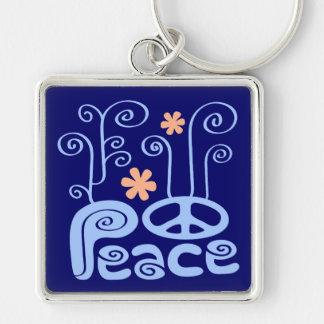 Peace Blue and Orange Keychain
