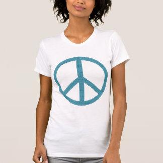 peace blue cloth-like T-Shirt