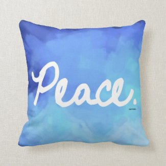 Peace Blue Water Color Pillow