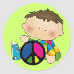 Peace - Boy Tshirts and Gifts Round Stickers