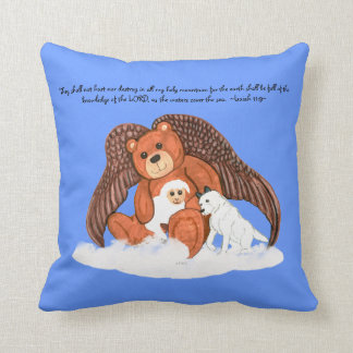 Peace Brown Angel Bear with Bible Scripture Pillow