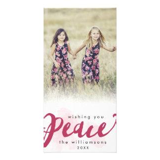 Peace Brush Script Christmas Holiday Photo Card