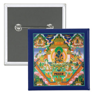 Peace Buddha: Akshobhya: Tibetan Thangka: Button