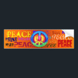 "PEACE BUMPER STICKER<br><div class=""desc"">Peace written all over a bumper sticker with a Tie ~dyed Peace sign right in the middle!</div>"