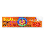 PEACE BUMPER STICKER<br><div class='desc'>Peace written all over a bumper sticker with a Tie ~dyed Peace sign right in the middle!</div>