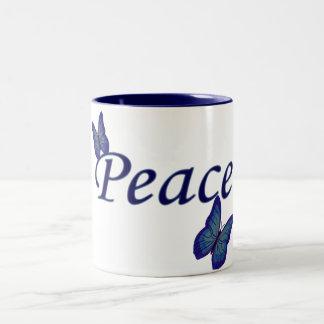 Peace-Butterflies Two-Tone Coffee Mug