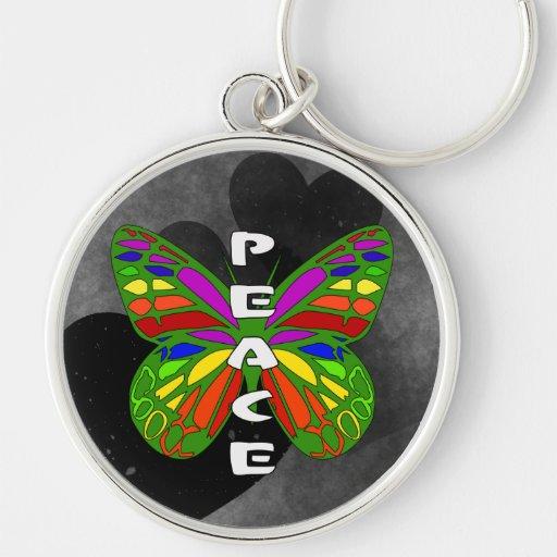Peace Butterfly Keychain