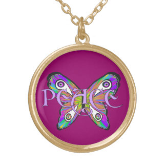 Peace Butterfly Psychedelic Colors Necklace
