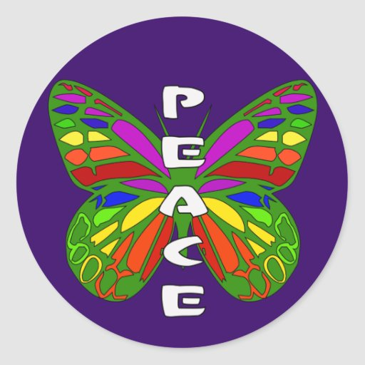 Peace Butterfly Round Sticker