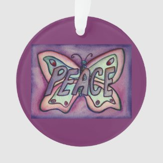 Peace Butterfly Word Art Gift Holiday Ornament