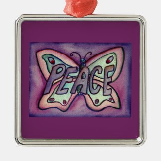 Peace Butterfly Word Art Gift Holiday Ornaments