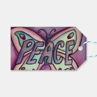 Peace Butterfly Word Custom Card Gift Tags