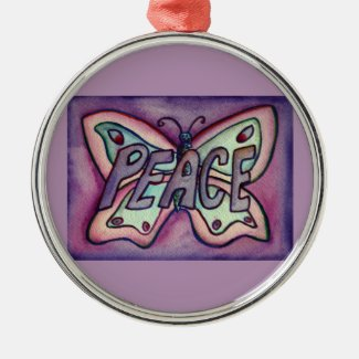 Peace Butterfly Word Gift Holiday Ornament
