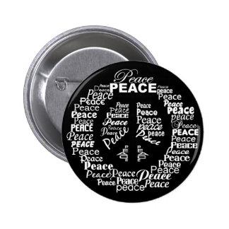 Peace button - Black & White