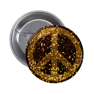 Peace Button with Gold Glitter