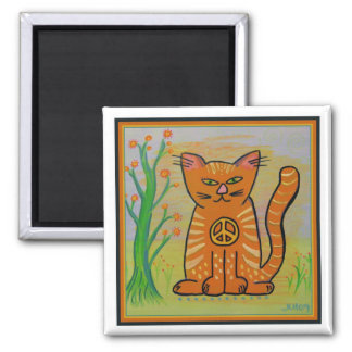 Peace Cat with Flowers 2 Inch Square Magnet