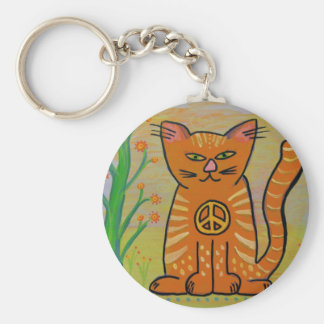 Peace Cat with Flowers Basic Round Button Keychain