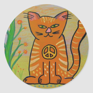 Peace Cat with Flowers Classic Round Sticker