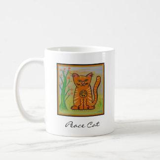 Peace Cat with Flowers Classic White Coffee Mug