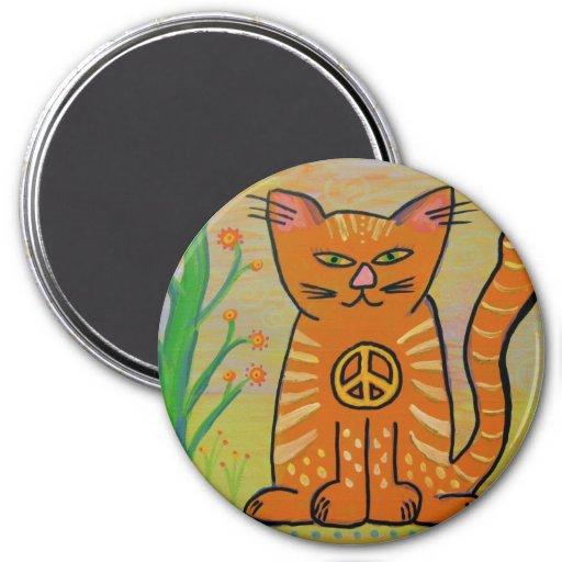 Peace Cat with Flowers Fridge Magnet