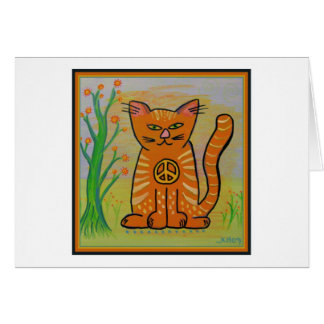 Peace Cat with Flowers Greeting Card