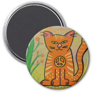 Peace Cat with Flowers Fridge Magnet