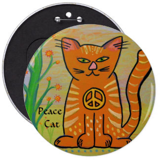 Peace Cat with Flowers Pinback Button
