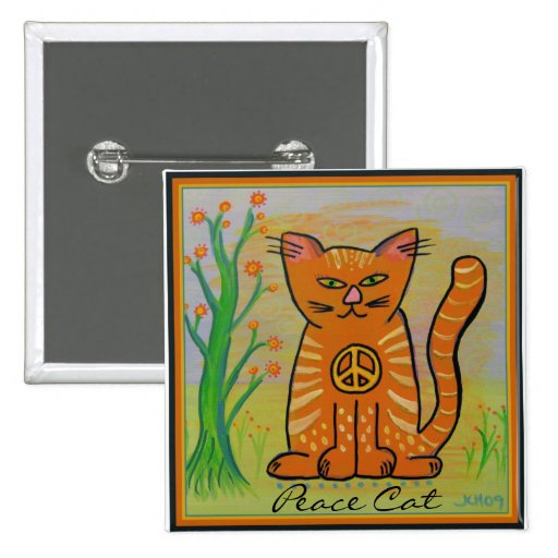 Peace Cat with Flowers Pinback Buttons