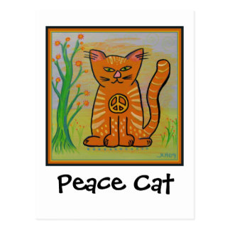 Peace Cat with Flowers Postcard
