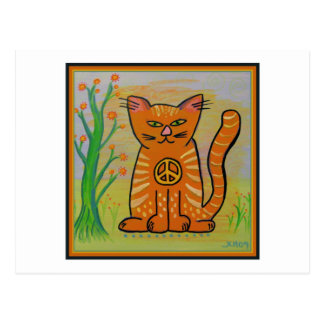 Peace Cat with Flowers Postcards