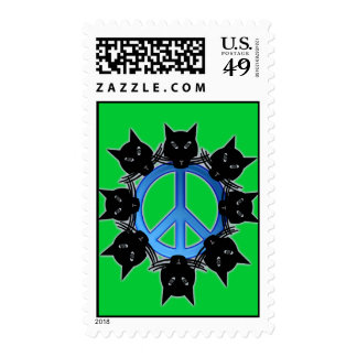 Peace cats postage stamps