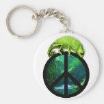 peace chameleon basic round button keychain