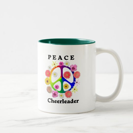 Peace Cheerleader Two-Tone Coffee Mug