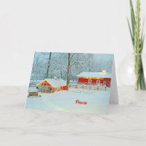 Peace Christmas Card with a Snowy Farm Scene