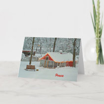 Peace Christmas Card with a Snowy Farm Scene