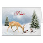 Peace Christmas Card with Deer and Siamese Cat