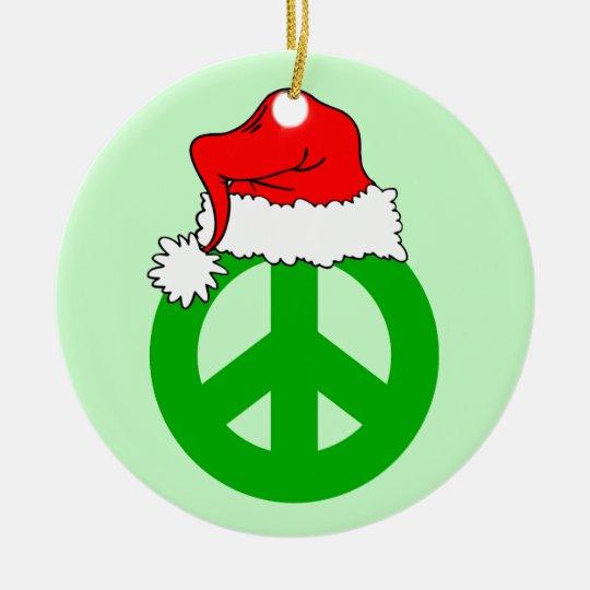 Peace Christmas Ceramic Ornament