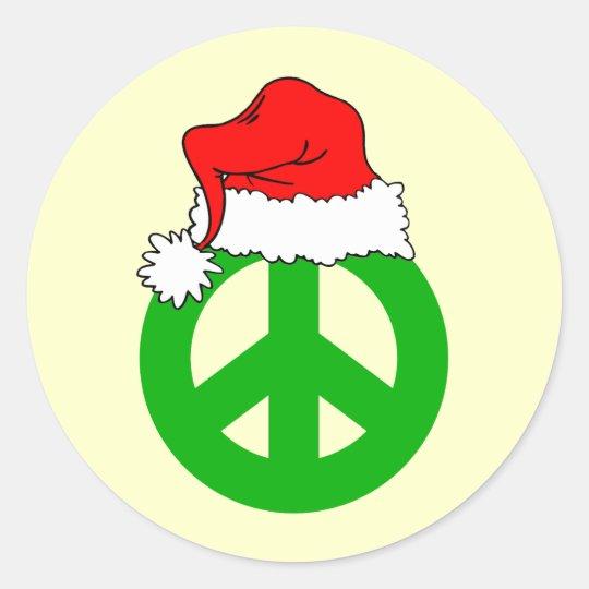Peace Christmas Classic Round Sticker