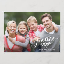 Peace Christmas Handwritten Script White Overlay Holiday Card