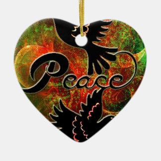 PEACE ~ CHRISTMAS.jpg Double-Sided Heart Ceramic Christmas Ornament